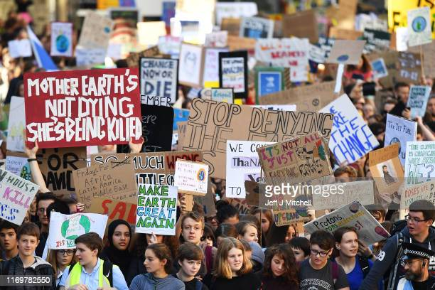 Campaigners protest during a climate change action day on September 20 2019 in Edinburgh Scotland Protests are taking place today worldwide with...
