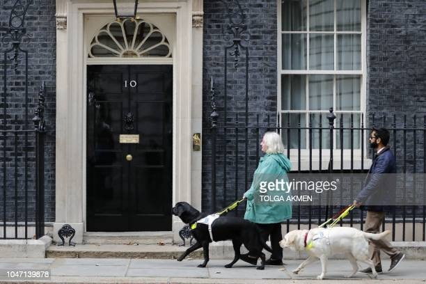 Campaigners with guide dogs approach number 10 Downing Street to drop off a petiton following a proEU antiBrexit march calling for a 'People's Vote...