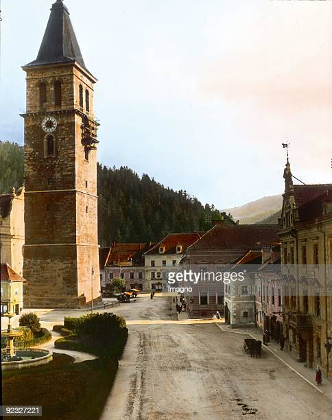Campanile in Judenburg Styria Handcolored lantern slide Around 1910