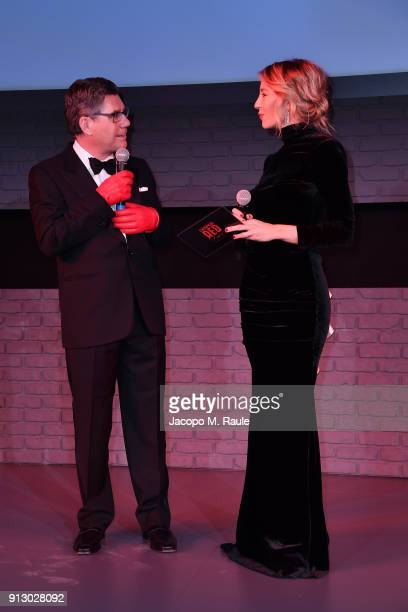 Campari CEO Bob KunzeConcewitz joins Mia Ceran on the stage at the premiere of 'The Legend of Red Hand' short movienpremiere for Campari Red Diaries...