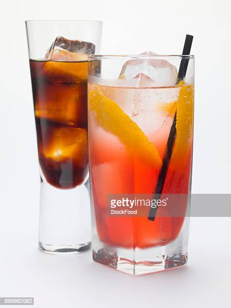 Campari Soda and a glass of bitter schnapps