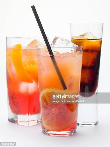 Campari Soda, Campari Orange, bitter schnapps with ice cubes