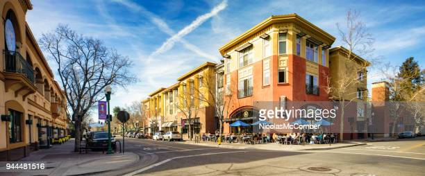 Campbell California Historic downtown avenue retail stores and restaurants panorama