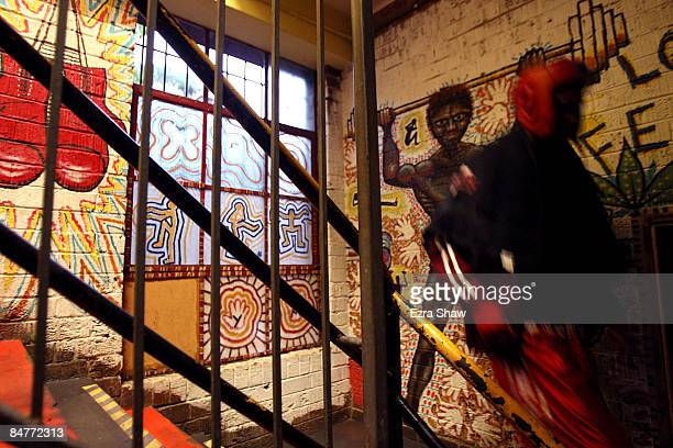 Campbell Cobbo Riley walks down the steps at the Tony Mundine Gym after warming up for his bout in Night Of The Black Stars on February 13 2009 in...