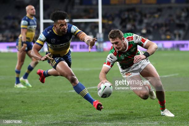 Campbell Graham of the Rabbitohs scores a try during the round 16 NRL match between the Parramatta Eels and the South Sydney Rabbitohs at Bankwest...