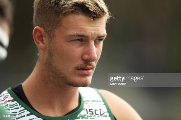 Campbell Graham watches on during a Sydney Rabbitohs training session at Redfern Oval at Redfern Oval on December 4 2018 in Sydney Australia