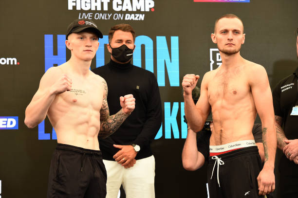 Campbell Hatton and Jakub Laskowski pose at the Matchroom Fight Camp weigh in on July 30, 2021 in Brentwood, England.