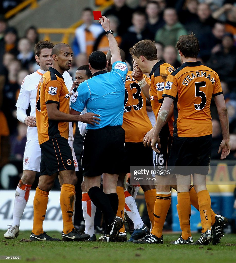 DJ Campbell is shown the red card during the Barclays Premier League match between Wolverhampton Wanderers and Blackpool at Molineux on February 26, 2011 in Wolverhampton, England.