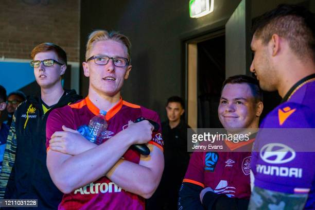 Campbell Knowles of Wellington Phoenix Dylan Banks and Ryan Naylor of Brisbane Roar FC look on during ELeague at ESL Studios Sydney on March 07 2020...