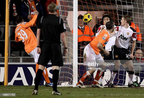 Campbell of Blackpool scores his team's second goal during the Barclays Premier League match between Blackpool and Manchester United at Bloomfield...
