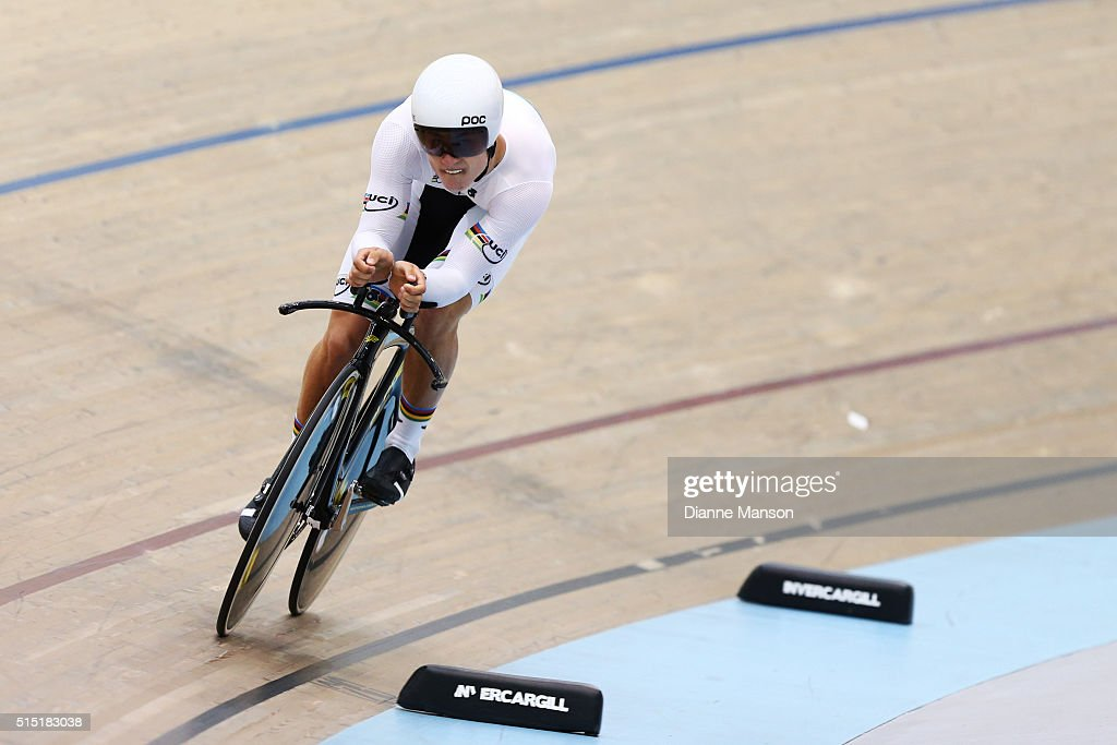 Campbell Stewart of West Coast North Island wears his UCI rainbow jersey in the Junior U19 Men Omnium 500m Time Trial during the New Zealand Age Group Track National Championships on March 13, 2016 in Invercargill, New Zealand.