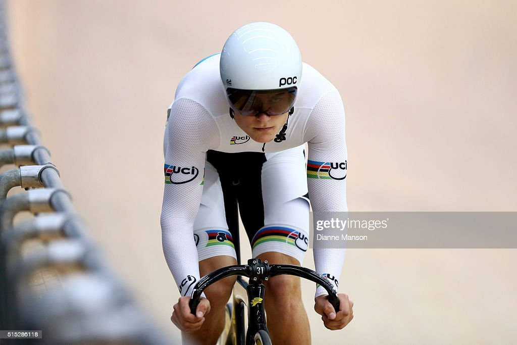Campbell Stewart of West Coast North Island wears his UCI rainbow jersey when competing in the Junior U19 Men Omnium Flying Lap during the New Zealand Age Group Track National Championships on March 13, 2016 in Invercargill, New Zealand.