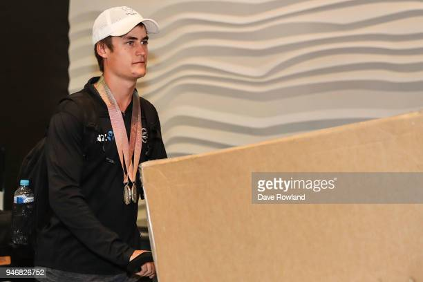 Campbell Stewart silver medals for cycling during the Welcome Home Function at Novotel on April 16 2018 in Auckland New Zealand