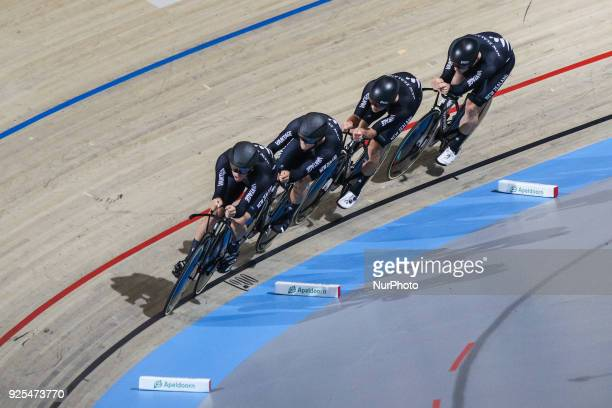 Campbell StewartRegan GoughDylan KennettNicholas Kergozou of Men`s team Pursuit squad take part in the qualifying round of the UCI Track Cycling...