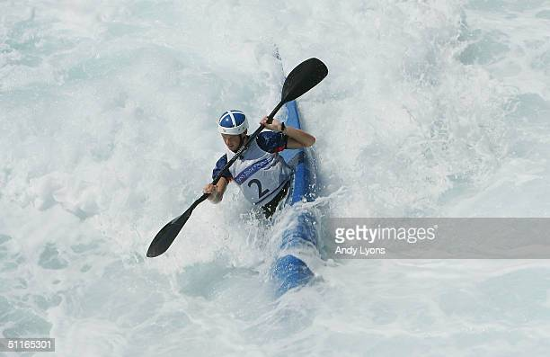 Campbell Walsh of Great Britain trains for the men's K1 class event on August 13, 2004 during the Athens 2004 Summer Olympic Games at the Olympic...