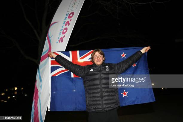 Campbell Wright of New Zealand poses for a photo as he is announced as flag bearer during the New Zealand Flag Bearer Announcement Ceremony ahead of...