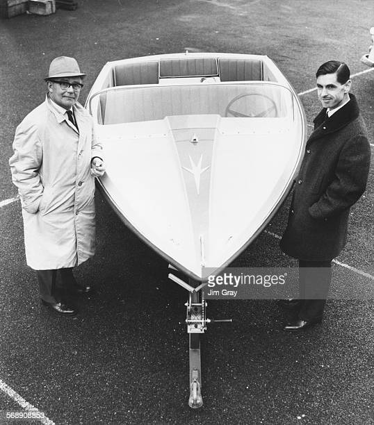 Campbell's chief mechanic Leo Villa and Ken Norris, director of the boat makers firm, pictured with a modified version of the water propelled...