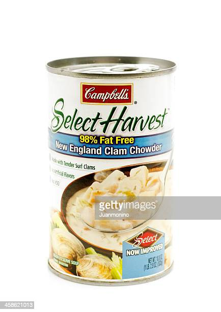 campbell's new england clam chowder - new england clam chowder stock photos and pictures