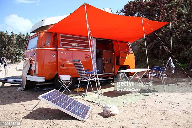 VW camper bus with a solar panel producing electricity on June 25 2010 in Rhodes Greece Rhodes is the largest of the Greek Dodecanes Islands