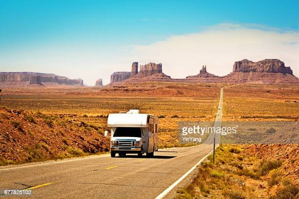RV Camper Road Trip at Monument Valley Tribal Park Landscape