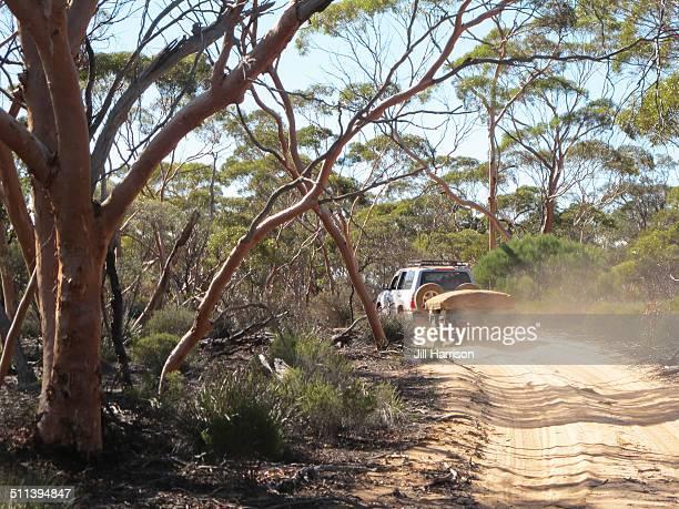 Camper trailer on bush track