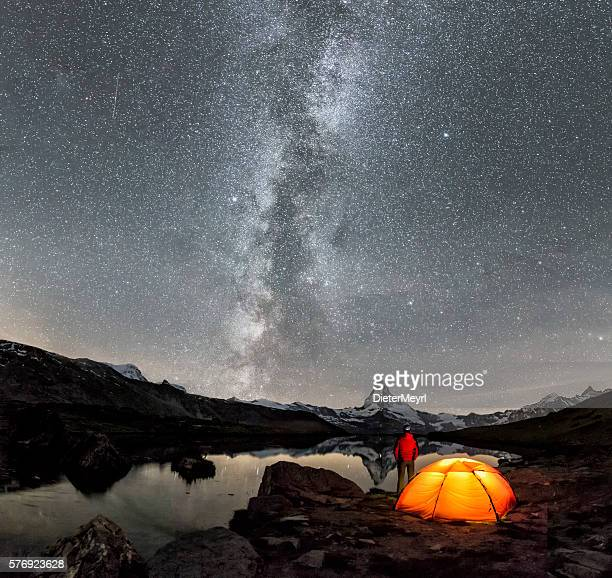 Camper under Milky Way at Matterhorn