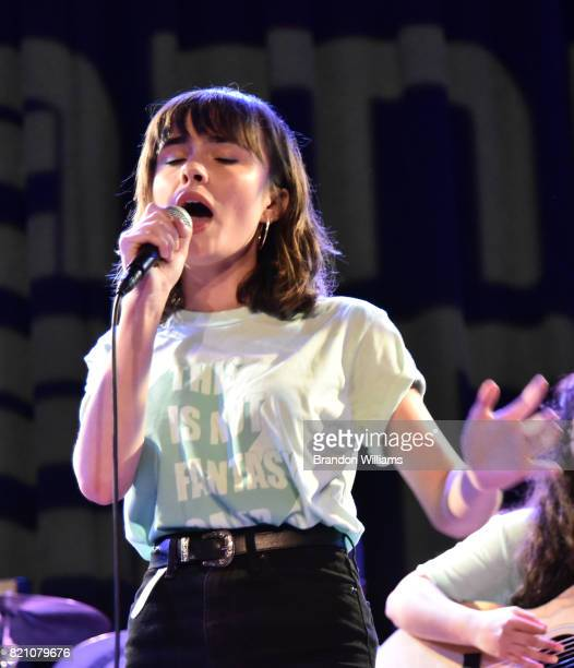 Campers at GRAMMY Camp LA showcase their work they created during camp at an open house at USC Thornton School of Music on July 22 2017 in Los...