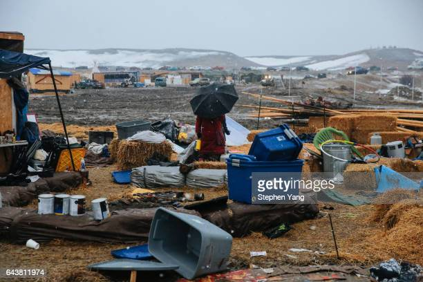 Campers prepare for the Army Corp's 2pm deadline to leave the Oceti Sakowin protest camp on February 22, 2017 in Cannon Ball, North Dakota. Activists...
