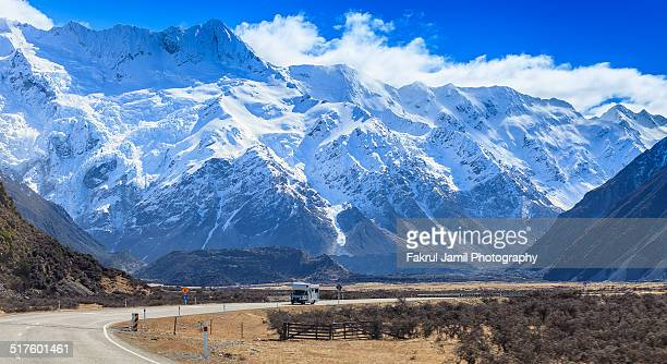 Campervan and Mount Cook Mountain Range