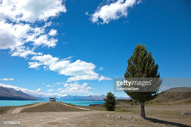 A campervan in the wilderness at Lake Pukaki with an outlook at MtCook on December 12 2010 in Aoraki / Mount Cook National Park South Island New...