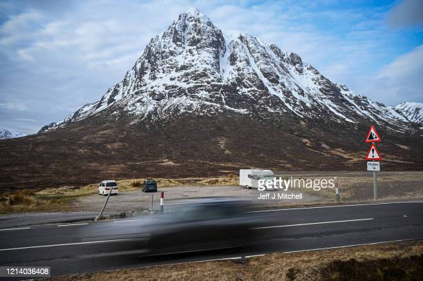 Campervan is parked in a car park as members of the public are asked to stop traveling to the Scottish Highlands in a bid to avoid spreading the...