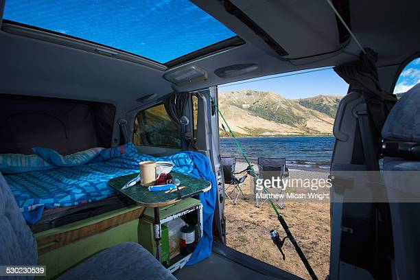 A campervan pulls into Lake Taylor campsite