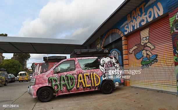 A campervan sits parked in the depot of Wicked Campers an Australian campervan firm known for the eyecatching slogans on its vehicles in Sydney on...