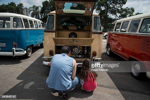 VW Campervans sit at an exhibition at the parking lot of the Volkswagen plant Sao Bernardo do Campo Brazil just before the end of the production in...