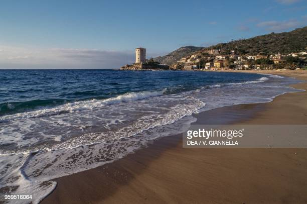 Campese beach with the Medici Tower Giglio Campese Giglio Island Tuscan Archipelago national park Tuscany Italy