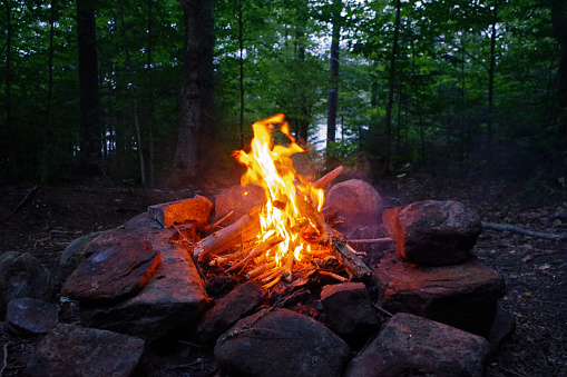 Campfire at camp in the Adirondack Mountains of Upstate New york. 1014880776