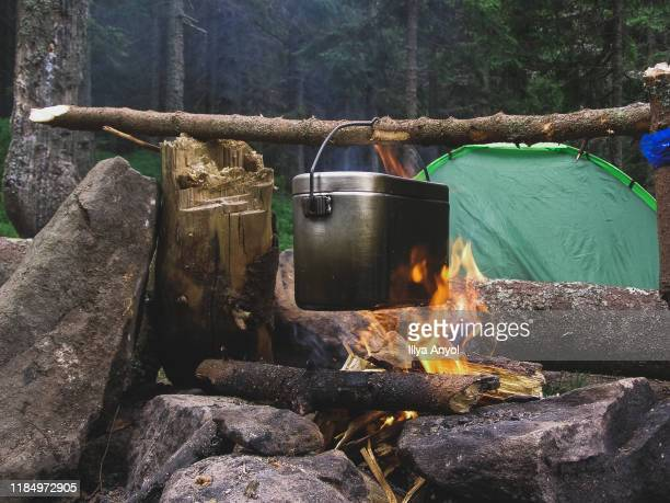 campfire cooking - ukraine stock pictures, royalty-free photos & images