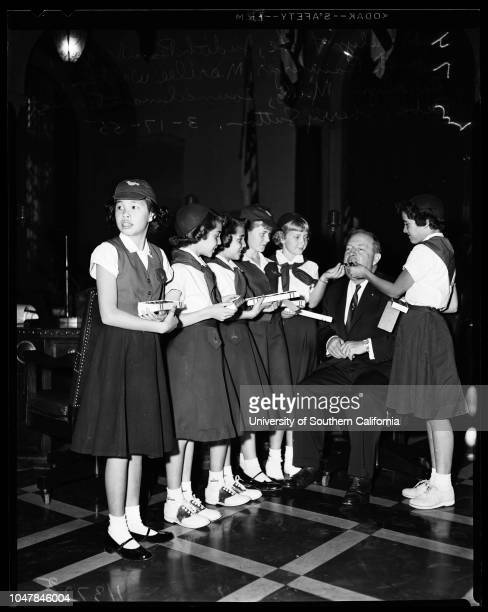 Campfire girls at City Council celebrating founding of the Campfire Girls 17 March 1955 Marilyn LukeJudith BambergerJanet BambergerMarielee...