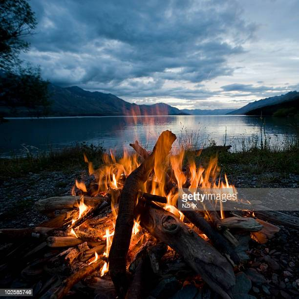campfire, kinloch, lake wakatipu, nz - camp fire stock photos and pictures