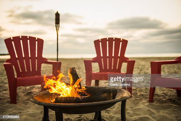 Campfire on Mission Beach, San Diego, California, USA