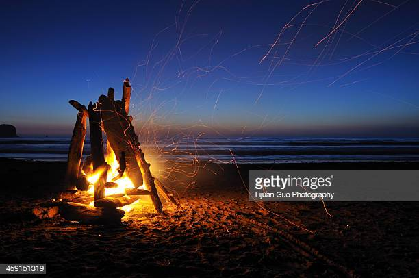 campfire on shi shi beach - campfire stock pictures, royalty-free photos & images