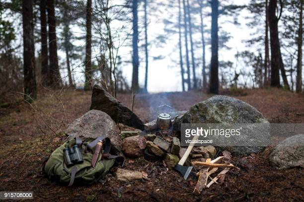 campfire still life shot - utility knife stock photos and pictures