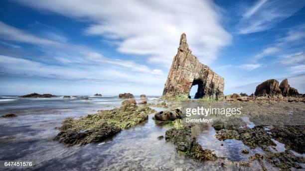 Campiecho Sea Arch at Asturias coastline, Spain, Bay of Biscay