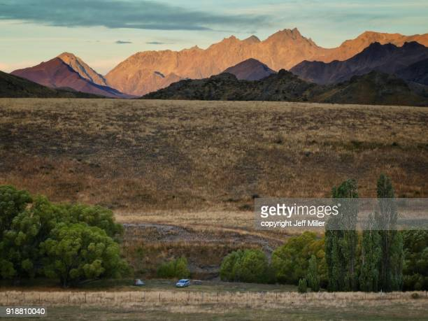 Camping along the Awatere River valley beneath the Inland Kaikoura Range, New Zealand