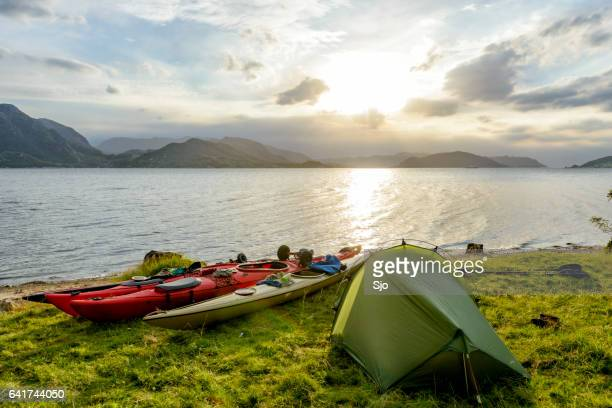 camping and kayaking in a fjord in norway during summer - coastline stock pictures, royalty-free photos & images