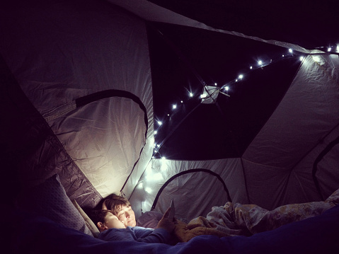 Camping and Twinkle Lights - gettyimageskorea