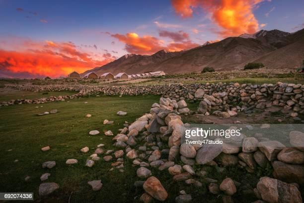 Camping area at Pangong lake with beautiful sky at sunset, Ladakh region, India