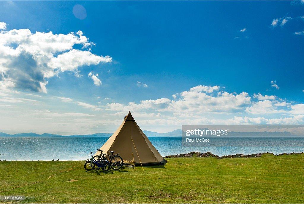 Camping at coast : Stock Photo