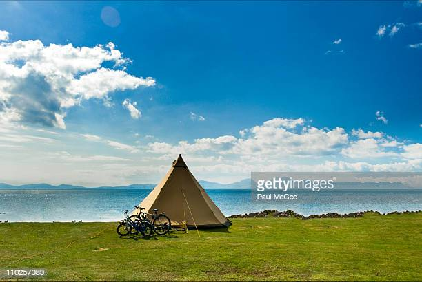 camping at coast - camping stock photos and pictures
