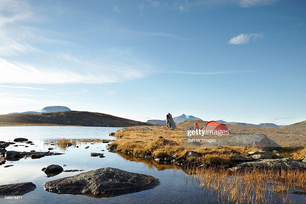 Camping at lake : Stock Photo